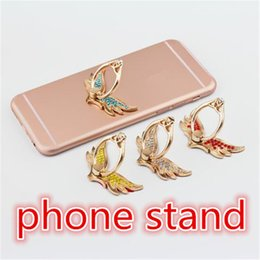 Wholesale Metal Rings Wings - Exquisite Ring Phone Holder fashion Angel wing Cell Phone Holder 5 color metal universal cellphone mount with rhinestone zpg254