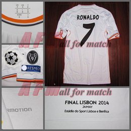 Wholesale Man Rm - RUGBY UCL Final 2014 RM Match Worn Player Issue Home Ronaldo Bale Sergio Ramos Football Rugby Custom Patches Sponsor