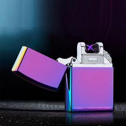 Wholesale Electronics Metal Case - 8 Colors High Quailty Cross Double Arc Lighter Case USB Pulse Windproof Lighters Electronic Metal Men Cigarette lighter