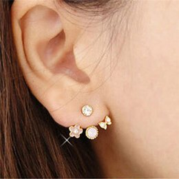 Wholesale Flowers For Clips - Fashion Earing Crystal White Gold Plated Jewelry High Quality Flower Ear Clips Stud Earrings For Women Brinco