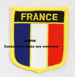 Wholesale France Wholesalers - France Shield Shape Flag patches embroidered flag patches national flag patches Free Shipping 0001