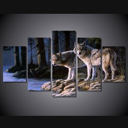 Wholesale Canvas Painting Set Two - 5 Pcs Set Framed HD Printed Two Wolf Animal Picture Wall Art Canvas Print Room Decor Poster Canvas Painting Cuadros Decorativos
