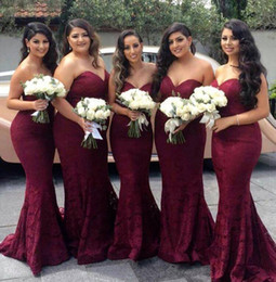 Wholesale pageant dresses adults - Burgundy Lace Mermaid Bridesmaid Dresses 2017 Sweetheart Sexy Long Maid of honor Gown Corset Cheap Wedding Guest Dress Formal Pageant Gowns