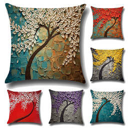 Wholesale Car Paint Set - Three - dimensional painting pillowcase tree flowers cotton and linen cushions car waist cushion sets Decorative Pillow IC593