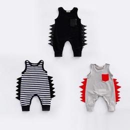 Wholesale Boys Kids Models Clothes - Babies romper INS toddler kids stripe dinosaur modelling romper baby girl boy summer cotton clothing Newborn cartoon anime jumpsuit T4127