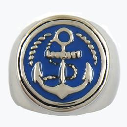 Cuerda de marinero online-11w57bl por encargo ANCLAJE MARÍTIMO MILITAR PUNKY DE ACERO INOXIDABLE CON ANILLO DE CUERDA Anillo marino Sailor REGALO PARA HERMANOS