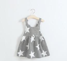 Vestido de tiras de menina on-line-Vestidos de verão da menina crianças tira star print princesa blackless cotton dress 2017 bebê crianças roupas g318