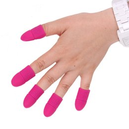 Wholesale Nail Varnish Tips - 5pcs set Nail Art Tips UV Gel Polish Remover Wrap Silicone Elastic Soak Off Cap Clip Manicure Cleaning Varnish Tool Reuseable Finger JCA0055