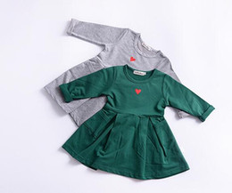 Wholesale Heart Drop Clothing - Baby girls dresses Toddler Baby Girl Long Sleeve Heart Print Pocket Princess Dress Outfits Clothing drop shipping