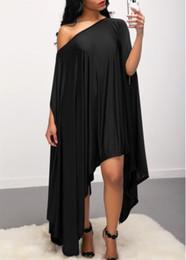 Wholesale Asymmetrical Batwing - Fashion Asymmetric Hem Skew Neck sexy Dress hot sale casual summer dresses