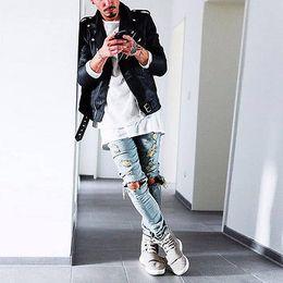 Wholesale Destroyed Jeans Long - Wholesale-kanye west represent Same jeans men light blue black designer rock star destroyed ripped skinny distressed jeans