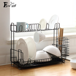 Wholesale Iron Floor - Iron art kitchen organizer storage rack double layer have drain plate can storage tableware holder bottle save space tidy q171126