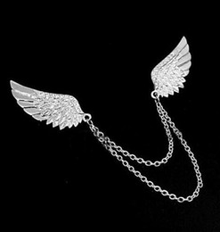 Wholesale Wings Collar Clip - Wholesale- New Fashion Silver Vintage Angel Wings Rhinestone Double Chains Brooch Collar Clip Gift Jewelry for Men and Women
