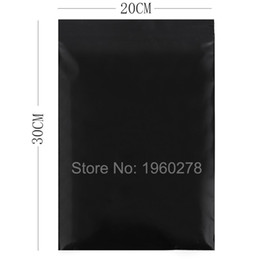 Wholesale plastic siding - Wholesale 100pcs lot Black poly repacking pouch Flat three side seal mini zip lock plastic pouches packaging bags 20x30cm