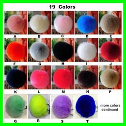 Wholesale Real Fur Handbags - Real Rabbit Fur Ball Kingchains Cute Round Plush Pompons Balls for Girls Lovely Handbag Keyrings Car Pendant with Gold Ring