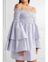 Wholesale Off Shoulder Long Sleeve Blouse - Runway Dress Designers 2018 Blouse Dress Stripes Women Summer Slash Neck Off Shoulder Dresses Flare Sleeve Dress
