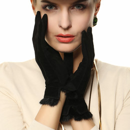 Wholesale Leather Hair Gloves - Wholesale- Special Offer 2017 Women Gloves Wrist Solid Rabbit Hair Pigskin Suede Glove Fashion Short Genuine Leather Female Driving L130NN
