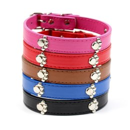 Wholesale Dog Collars Paws - PU Leather Personalized Plain Skin Pet Collar For Dog or Cats Pet Supply Leash Rope Chain With Paw Charm Ornament 3 Sizes