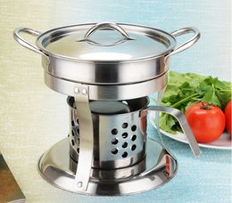Wholesale Hot Pot Stove - hot pot cooker liquid stove set Chafing Dish pots heater serving stand stainless holder lid 18cm Buffet pan server Food Tray Warmer fondue