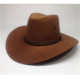 Wholesale Wholesale Leather Caps Hats - 8color Leather Men Women Travel Caps Western Cowboy Hats 2017 popular western cowboy wind Best summer gift