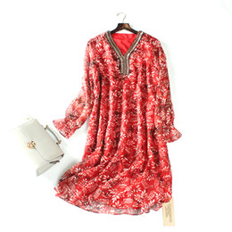 Wholesale Dotted Ladies Chiffon Tops - 2017 summer new arrival top quality elegant retro classic classic noble sexy chiffon bead ladies dress