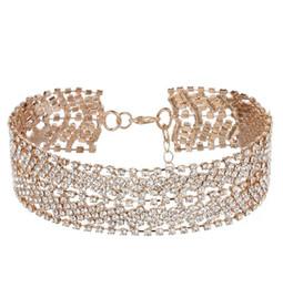 Wholesale Chunky Jewellery - 20pcs ashion Luxury Full Big Rhinestone choker Crystal statement necklace Women Chockers Chunky Necklace Collier Wedding jewellery F188