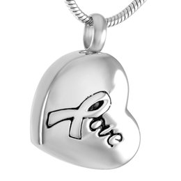 Wholesale Easter Printed Ribbon - IJD9308 Love Ribbon Print Stainless Steel Cremation Pendant Necklace