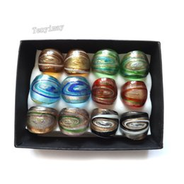 Wholesale Style Murano Glass Rings - Mixed Color Whirlpool Design Exaggerated Murano Glass Rings Chinese Traditional Style Rings Pack of 12pcs Free Shipping