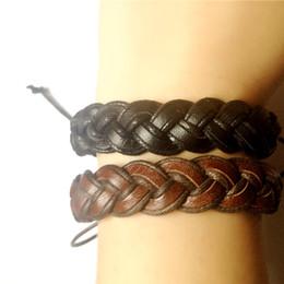 Wholesale Twist Braid Bracelet - Twist braid handmade Bracelets Men Jewelry Genuine Leather Bracelets for Women Gifts 100% New men bracelets drop shipping