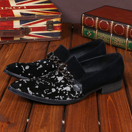 Wholesale Types Male Shoes - New 2017 Men's Loafers Italy Type Adult Male Loafers Leather Shoes Rhinestone Shoes Men Loafers Black