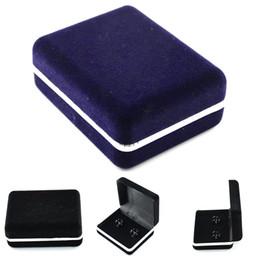 Wholesale Cufflink Boxes Wholesale - 2 Pcs Flannelette Display Case Dark Blue Black Cufflinks Box For Jewelry Storage Accessories Plastic Box 7*6*2.7cm