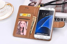 Wholesale Leather Card Case Lanyard - For Iphone 7 7P Wallet flip leather case cards pocket with lanyard pouch full cover cases for iphone se 6 6s 7 plus samsung s7 s6 s8 s8plus