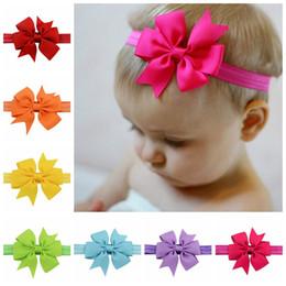Wholesale Grossgrain Ribbons Bows - 20 Colors Baby Girls grossgrain Ribbon Bow Headbands Infant Big Bowknot Elastic Hair Accessories Kids Hairbands Headdress SEN217