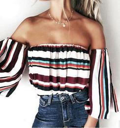Wholesale Strip Blouse - 2017 NEW Women Blouses fashion Slash Neck Flare Sleeve Chiffon Stripped Long Sleeve T-Shirt ladies Wild tops shirt