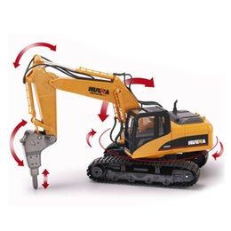 Wholesale Excavator 12 - Wholesale- HuiNa 560 2.4G 1 12 16 Channels Metal RC Excavator Broken Disassemble Charging RC Car Model Toys
