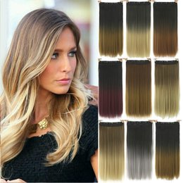 Wholesale ombre clip hair extensions canada best selling 24inch long straight black to gray ombre hair high tempreture fiber synthetic hair pad clip in hair extensions pmusecretfo Images