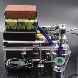 Wholesale Electric Hookahs - Electric nail with Starbucks Bong Water Pipes Glass Bongs Hitman Glass Bubbler Glass Bong Green Color Hookahs