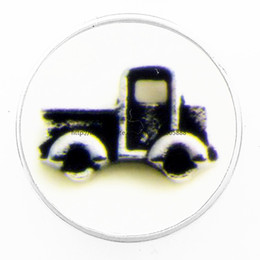 Wholesale Truck Print - fashion Black trucks 18 mm glass print ginger snap button jewelry luxurious alloy bottom fit 18 mm snaps bracelets best gifts