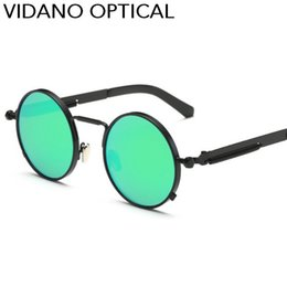 Wholesale Newest Designing Sunglasses - Vidano Optical Newest Round Metal Sunglasses Steampunk Design Fashion Brand Glasses Gradient UV400 Eye Wear Vintage Classic Oculos de sol