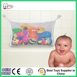 Wholesale Free Shipping Baby Baskets - Wholesale- Free Shipping Folding Baby Bathing Mesh Bag Child Bath Toy Storage Net Suction Cup Baskets