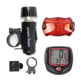 Wholesale Mountain Computers - Bicycle Computer Speedometer And 5Led Mountain Bike Cycling Head Light And Rear Lantern Light Super Bike Accessories Sets