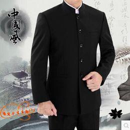 Wholesale Formal Dress Coat For Men - Wholesale- Blazer men formal dress latest coat pant designs suit men costume homme terno stand collar black tunic suits for men's