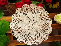 Wholesale Lace Cup Holders - Wholesale- 20CM HOT lace Cotton table place mat cloth pad crochet placemat cup coaster round doilies mug Holder coffee kitchen tableware