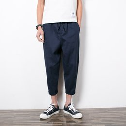 Wholesale Japan Size Clothes - Wholesale-K118 Japan Style Summer Casual Men's Ankle-Length Pants Plus Size Male Clothes Fashion Loose Bottoms Solid Color Harem Trousers