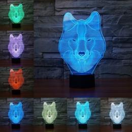 Lámparas de lobos online-Wolf Luz LED Lámpara táctil 3D Luz Colorida Cambio de 7 colores Ilusión visual Lámpara Luz Regalo