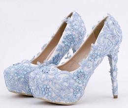 Tacones de cuentas azules online-Zapatos de Cenicienta de encaje azul con cuentas Rhinestones nupcial de dama de honor de la boda zapatos 2017 Prom noche noche Club Party Super tacones