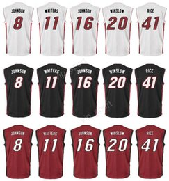 Wholesale Printed Tyler Johnson Jersey Hot Men Dion Waiters James Johnson Basketball Jerseys Justise Winslow Glen Rice Red Black White