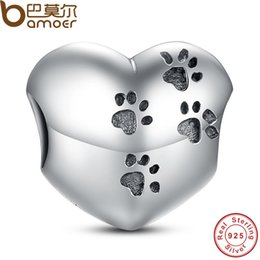 Wholesale Paw Beads Pandora - Pandora Style 925 Sterling Silver My Sweet Pet Paw Print Charm Fit Bracelet Necklace Heart Bead Accessories Jewelry Making PAS001