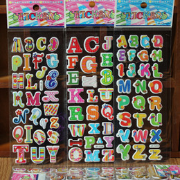 Wholesale Educational Wall Stickers - New pack 100 sheets Educational letters fruit Wall Stickers 3D Cartoon Stickers Christmas Paster Kindergarten Reward Gifts Party Favor