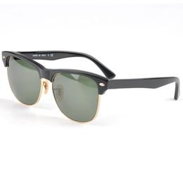 Wholesale High Quality Metal Hinge - High Quality Plank Sunglasses Black Frame Green Lens Sun glasses Metal hinge Sunglasses Men's Sunglasses Women's Sun glasses